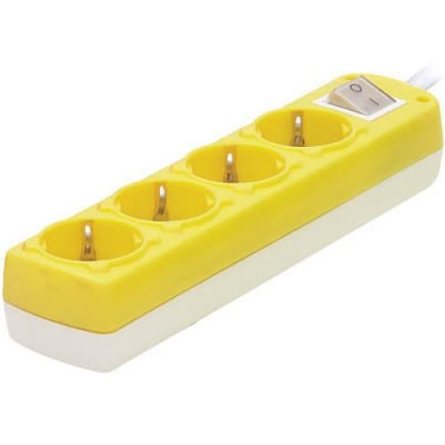 Πολύπριζο 4Θ με διακόπτη Κίτρινο 1,5m