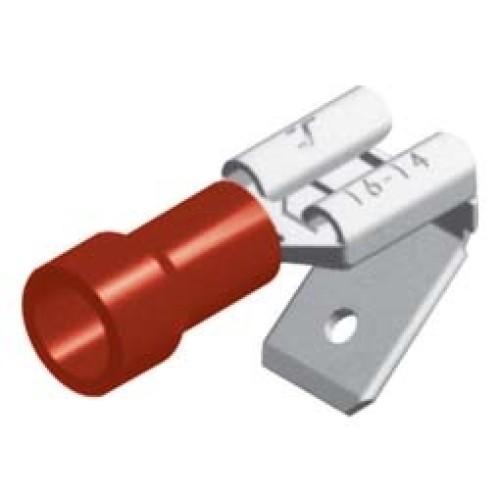 Ακροδέκτης αρσενικός-θηλυκός συρταρωτός με μόνωση κόκκινη 1,5Χ6,3