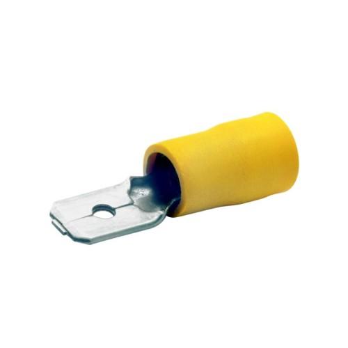 Ακροδέκτης αρσενικός συρταρωτός με μόνωση κίτρινη 6Χ6,3