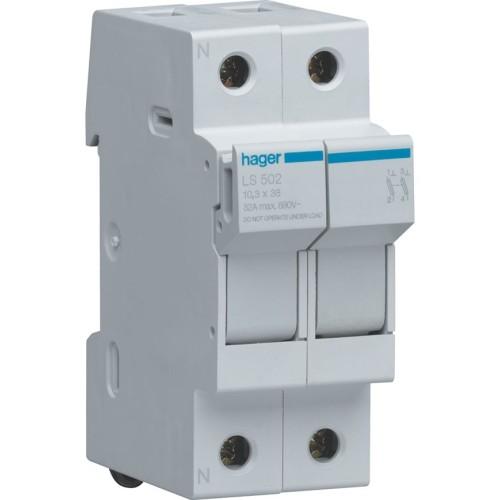 Ασφαλειοθήκη κυλινδρικής ασφάλειας 10X38 2P 2-32A LS502