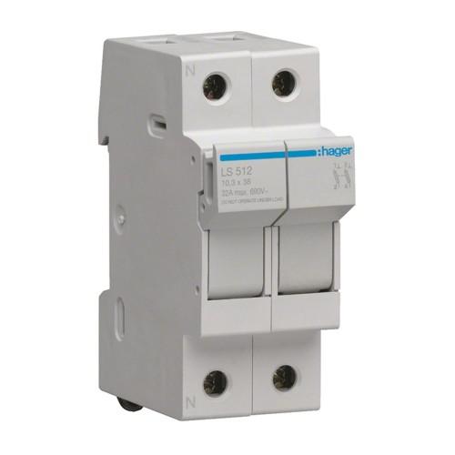 Ασφαλειοθήκη κυλινδρικής ασφάλειας 10X38 1P+N 2-32A LS512