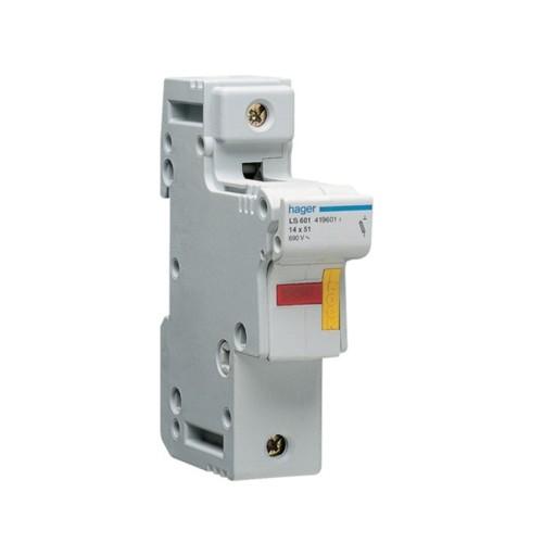 Ασφαλειοθήκη κυλινδρικής ασφάλειας 14X51 1P 2-50A LS601