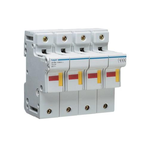 Ασφαλειοθήκη κυλινδρικής ασφάλειας 14X51 3P+N 2-50A LS604