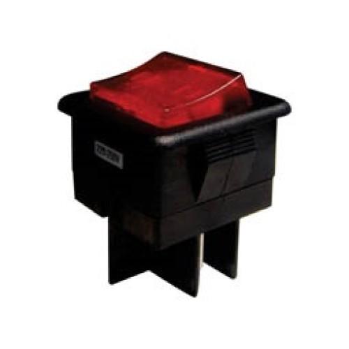Διακόπτης κούνιας (ROCKER) μεγάλος με λυχνία ON-OFF 10A/250V 4P R13-105 κόκκινος (τετράγωνος) SCI