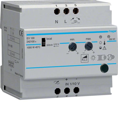 Ρυθμιστής φωτισμού 1000W πυράκτωση 12V ή 230V EV100