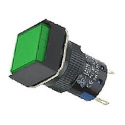 Ενδεικτική λυχνία βιδωτή Φ16 χωρίς καλώδιο + LED 220VAC/DC πράσινη SDL16-FXD XND