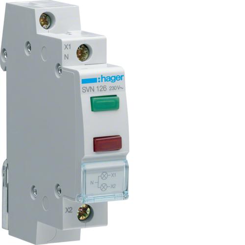 Ενδεικτικό ράγας LED διπλό πράσινο/κόκκινο 230V SVN126