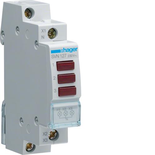 Ενδεικτικό ράγας LED τριπλό κόκκινο 230V SVN127