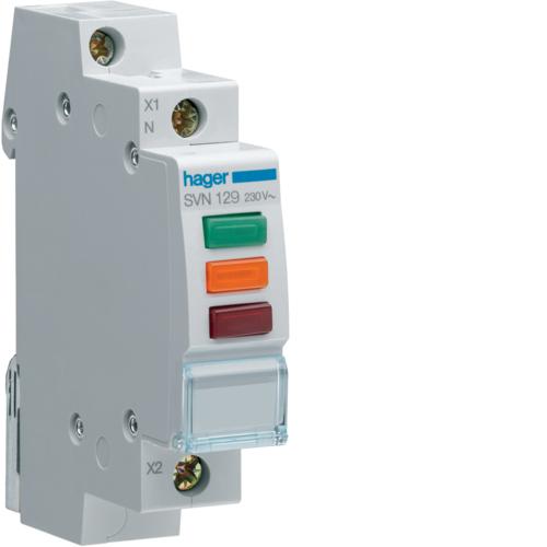 Ενδεικτικό ράγας LED τριπλό κόκκινο πράσινο πορτοκαλί 230V SVN129
