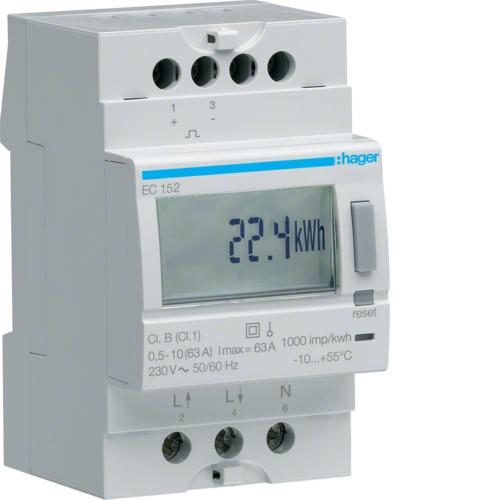 Μετρητής ενέργειας μονοφασικός διπλού τιμολογίου και έξοδο παλμού 63A EC152