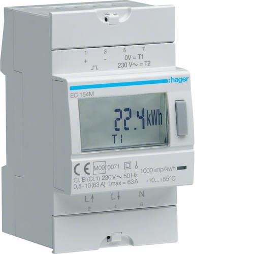 Μετρητής ενέργειας μονοφασικός διπλού τιμολογίου και επικύρωση MID 63A EC154M