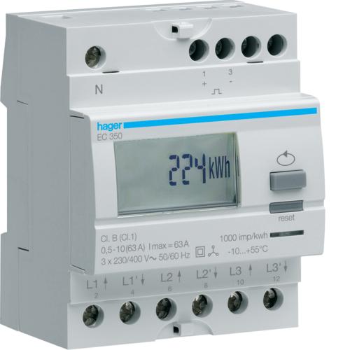 Μετρητής ενέργειας τριφασικός άμεσης μέτρησης απλού τιμολ. 63A EC350