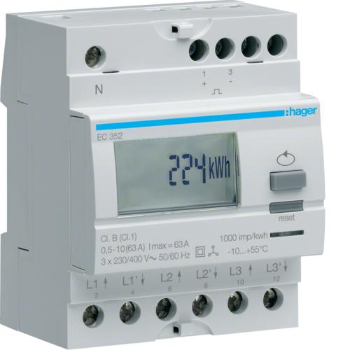 Μετρητής ενέργειας τριφασικός άμεσης μέτρησης διπλού τιμολ. 63A EC352