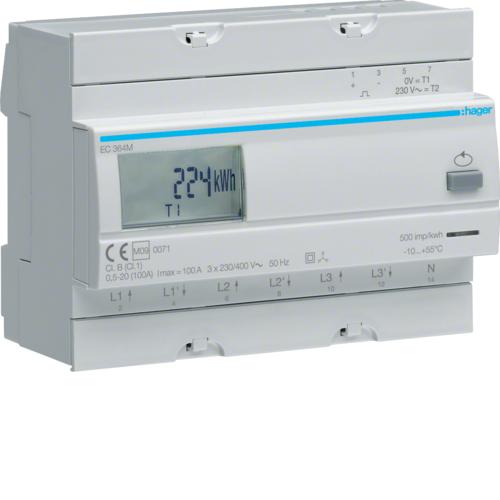 Μετρητής ενέργειας τριφασικός άμεσης μέτρησης διπλού τιμολ. MID 100A EC364M