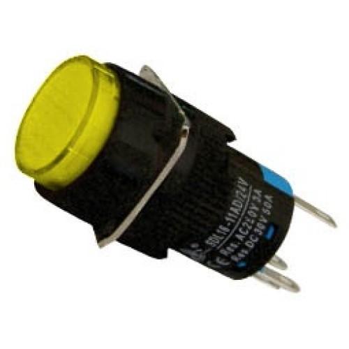 Μπουτόν Φ16 + συγκράτηση + LED 230VAC κίτρινο SDL16-11ADL XND