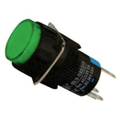 Μπουτόν Φ16 + συγκράτηση + LED 230VAC πράσινο SDL16-11ADL XND