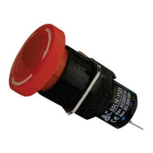 Μπουτόν Φ16 μανιτάρι + συγκράτηση + LED 24VAC/DC κόκκινο SDL16-11MDL XND