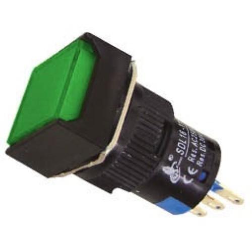 Μπουτόν Φ16 με συγκράτηση 24VAC/DC πράσινο SDL16-11FL XND
