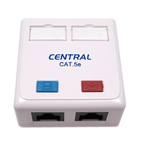 Πρίζα τηλεφωνική διπλή εξωτερική 8P8C CAT 5e 01-60-488