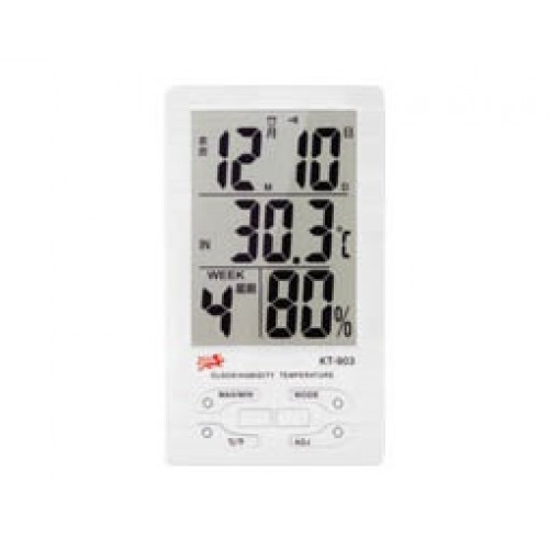 Θερμόμετρο υγρόμετρο ψηφιακό με ημερομηνία & ρολόι KT-903 CHR