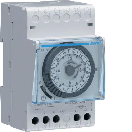 Χρονοδιακόπτης αναλογικός 24 ωρών με εφεδρεία 12/24V AC/DC EH111A